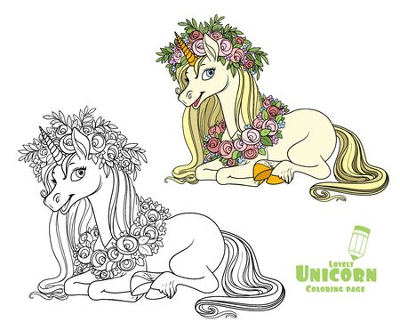 Magical unicorn in a magnificent wreath of roses lies on the floor color and outlined picture for coloring book on white background Ilustração