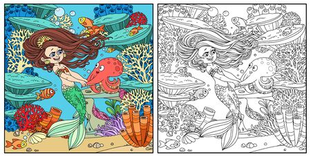Cartoon little mermaid girl dancing with an octopus on underwater world with corals,  actinia and fishes background color and outlined