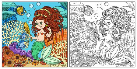 Cartoon mermaid girl pretties herself in front of a hand mirror on underwater world with corals and fish background color and outlined Stock Illustratie
