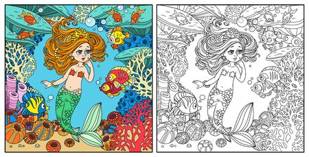 Cartoon little mermaid girl amazement communicates with the fish on underwater world frame with corals, fish and anemones background color and outlined