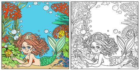 Beautiful mermaid girl lies on underwater world with corals, seaweed and anemones background color and outlined