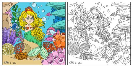 Beautiful little mermaid girl sits on a rock and combs her hair on underwater world frame with corals, fish and anemones background color and outlined