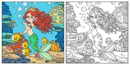 Beautiful mermaid girl sends an kiss underwater world with corals and fishes background color and outlined