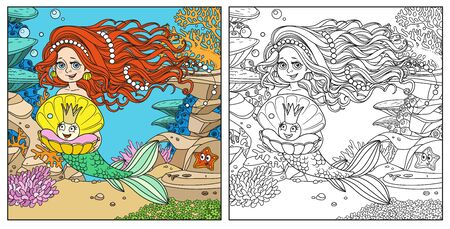 Beautiful mermaid girl holding a pearl in shell on underwater world with corals, fishes, cute starfish and anemones background color and outlined