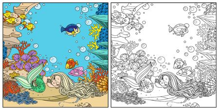 Cute little mermaid sleeps on a rock with corals on underwater world with corals and anemones background color and outlined