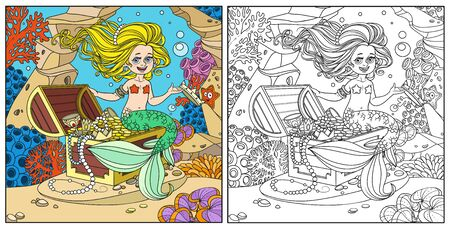 Cute mermaid girl is sitting on a treasure chest and keep the crown on the hand on underwater world with corals and anemones background color and outlined