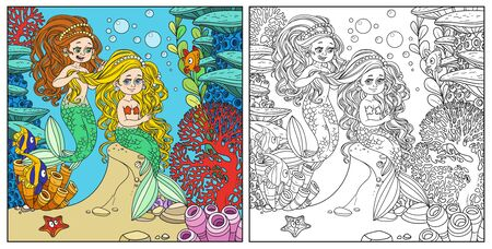 Cute girl mermaid plait braids friend mermaid on underwater world with corals background color and outlined