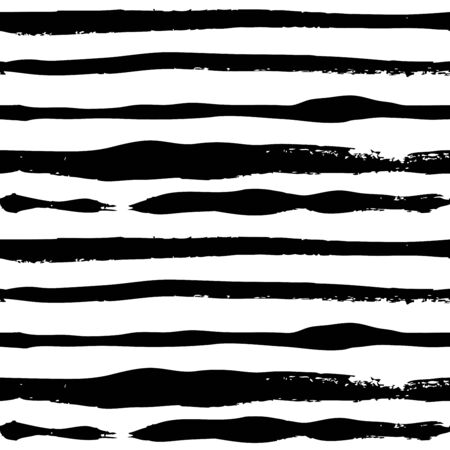 Seamless pattern from abstract long narrow textural strokes of black thick paint on a white background