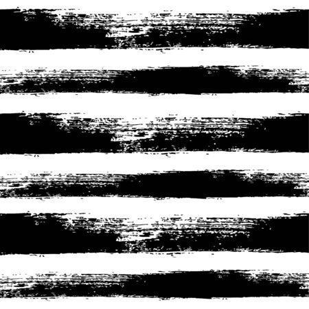 Black seamless pattern from abstract long textured brush strokes on a white background