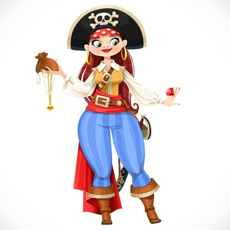 Brave cute cartoon chubby pirate girl with looted trophies isolated on white background Ilustración de vector