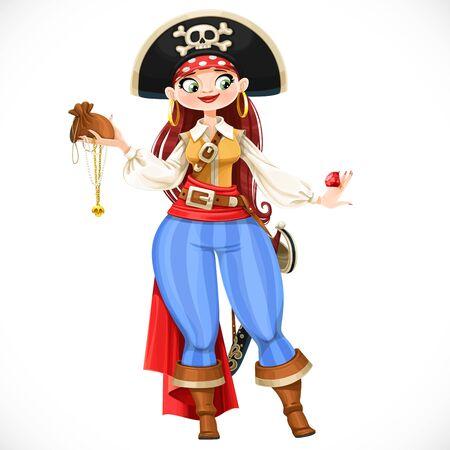 Chica pirata gordita de dibujos animados lindo valiente con trofeos saqueados aislado sobre fondo blanco Ilustración de vector