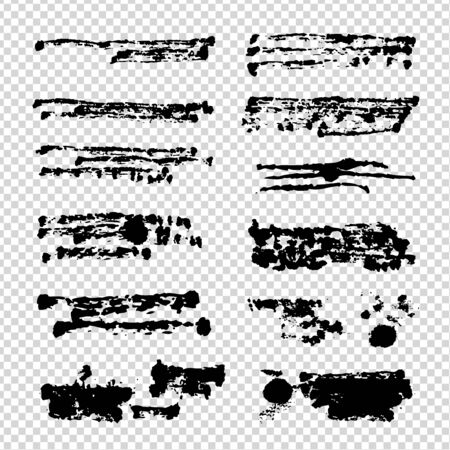 Black textured abstract brush strokes isolated on imitation transparent background