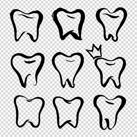 Cute teeth painted with brush in thick brush strokes isolated on imitation transparent background