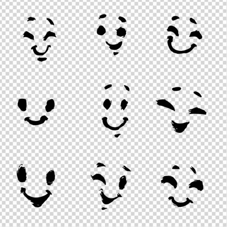 Cute faces painted with brush in thick paint strokes isolated on imitation transparent background
