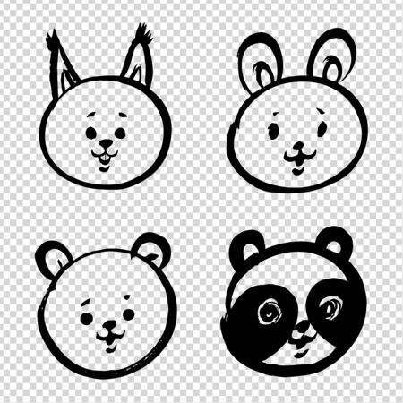 Cute cartoon doodle baby faces of a hare, squirrel, bear and panda painted with brush in thick paint strokes isolated on imitation transparent background