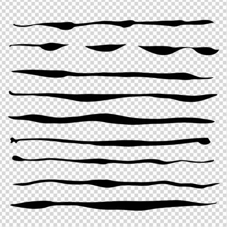 Black abstract brush wavy long thin strokes big set isolated on imitation transparent background