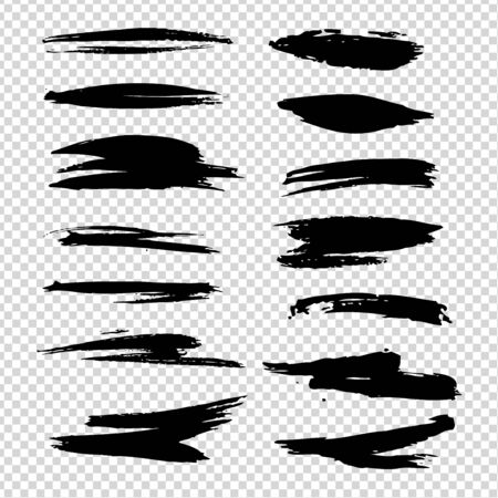 Different shapes and  brush strokes isolated on imitation transparent background