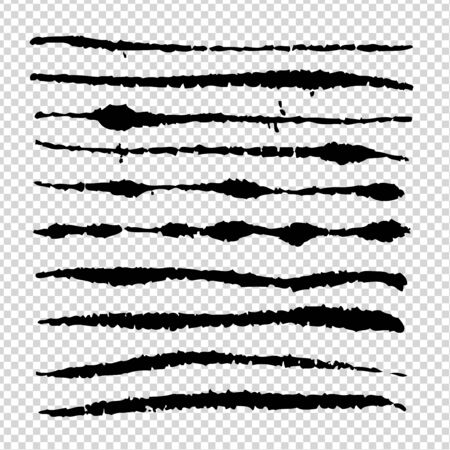 Black abstract brush long textured thin strokes isolated on imitation transparent background