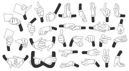 Cartoon gloved hands showing different symbols vector illustration objects set isolated on a white background Vektoros illusztráció