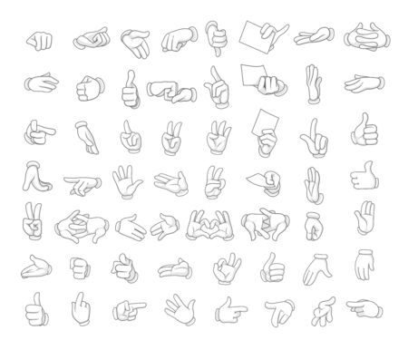 Cartoon gloved hands showing different symbols very big set vector illustration objects  isolated on a white background