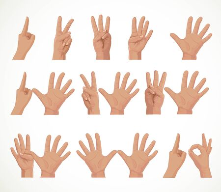 Figures from fingers numbers from one to ten isolated on white background