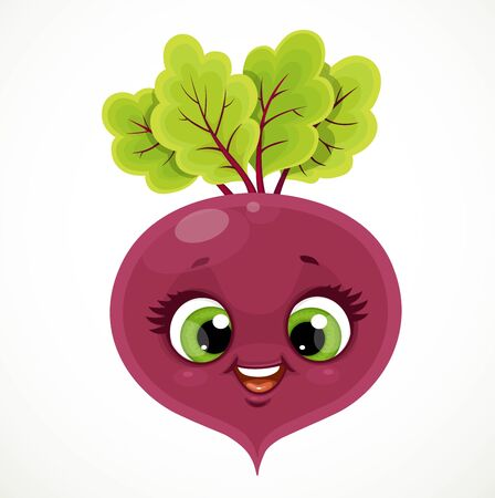 Cute little emoji red beetroot isolated on white background