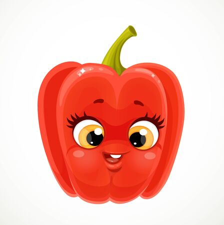 Cute little emoji red bell peppers isolated on white background