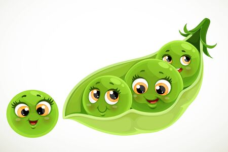 Cute little cartoon emoji green peas in a pod isolated on white background Vetores