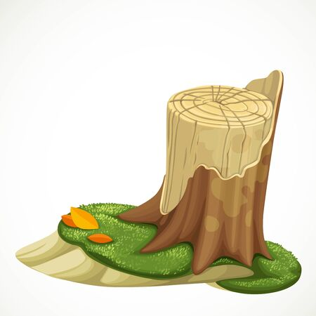 Old stump covered with green moss vector drawing isolated on white background