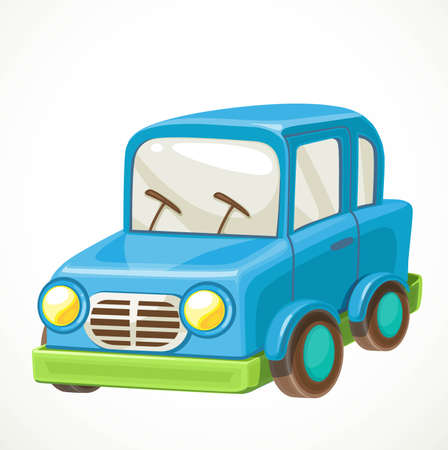 Toy for toddlers blue car object isolated on white background