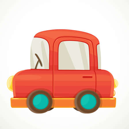 Toy for toddlers red car object isolated on white background Ilustracja