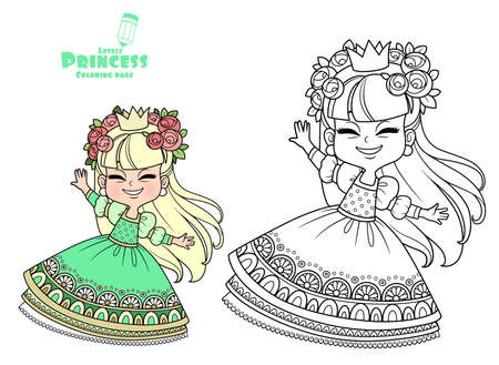 Cute princess in a wreath of roses dancing outlined and color for coloring book