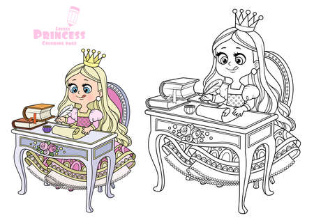 Little princess sits at a table and writes with pen on parchment outlined and color for coloring book
