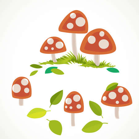 Amanita with green summer leaves vector drawing isolated on white background