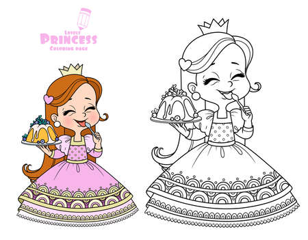 Cute princess holds a cupcake in hand and licks spoon outlined and color for coloring book