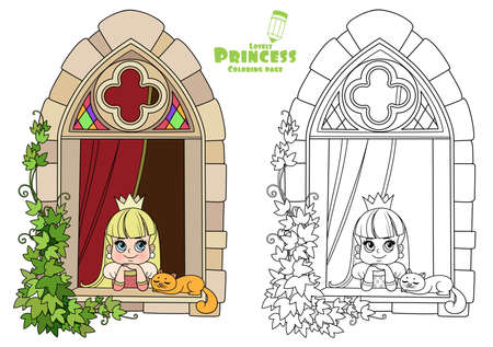 Cute princess looks out of a castle window covered with ivy outlined and color for coloring book 向量圖像