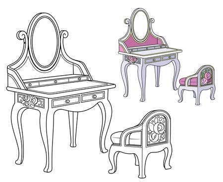 Baroque dressing table and small chair decorated with roses outlined and color for coloring book