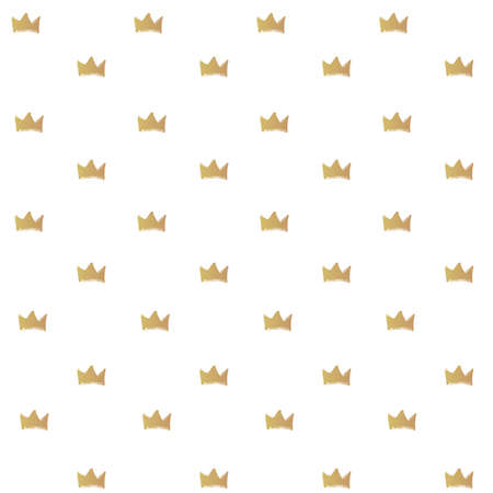 Seamless pattern from golden brush strokes crowns shape on white background