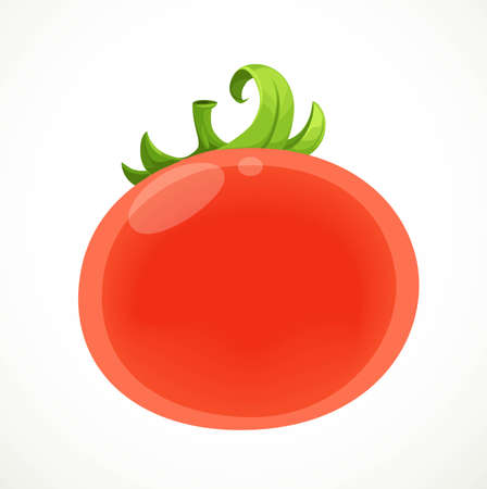 Red ripe juicy tomato isolated on white background