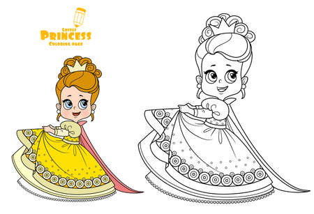 Cute princess in yellow dress with puffy skirts and high hair outlined and color for coloring book