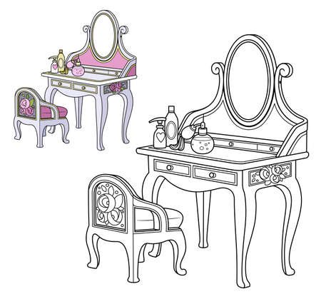Baroque dressing table and small chair outlined and color for coloring book