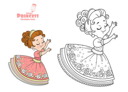 Cute princess dancing outlined and color for coloring book