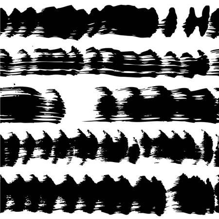 Seamless pattern from abstract long textured black brush strokes on a white background