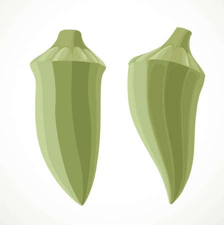 Two okra isolated on white background Ilustrace
