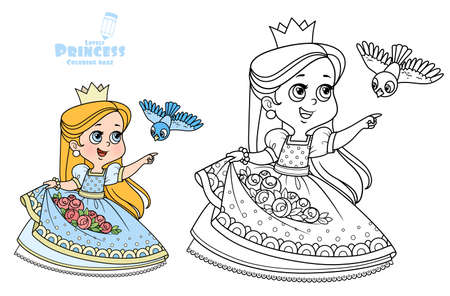 Cute princess with roses flowers in the hem and bird flying to the meeting outlined and color for coloring book Vectores