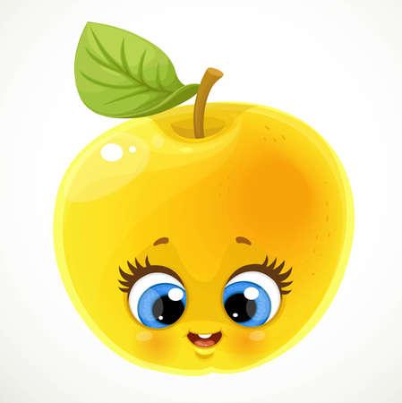 Cute little cartoon emoji apple isolated on white background