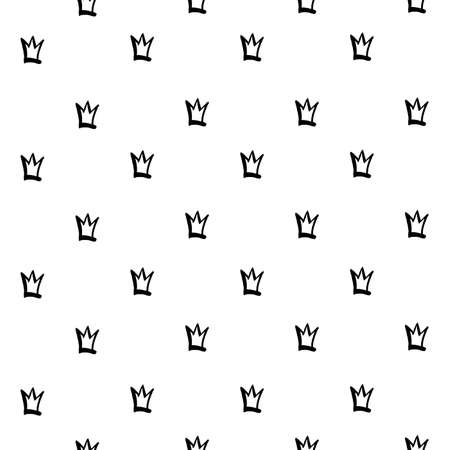Seamless pattern from brush strokes crowns on white background