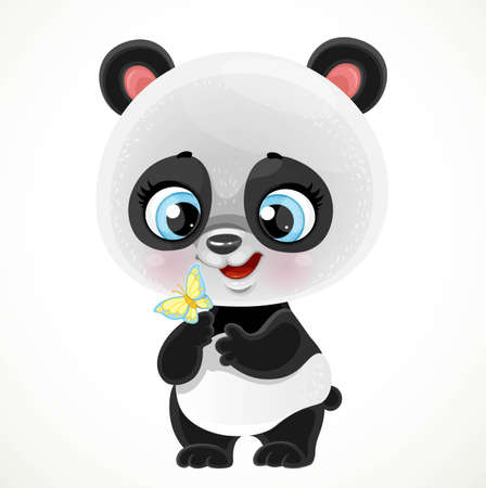 Cute cartoon baby panda bear examines a butterfly isolated on a white background Ilustrace