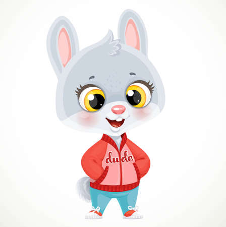 Cute little bunny boy in in a jacket and sneakers isolated on white background
