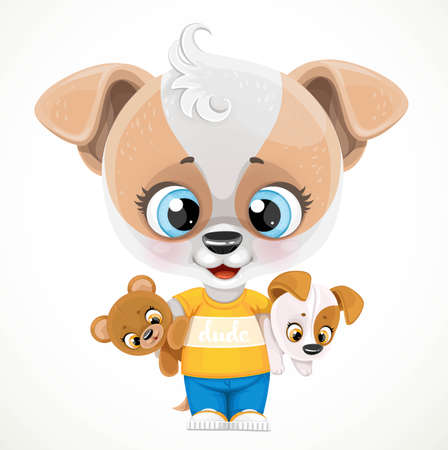 Cute cartoon baby dog with soft toys in hands isolated on a white background